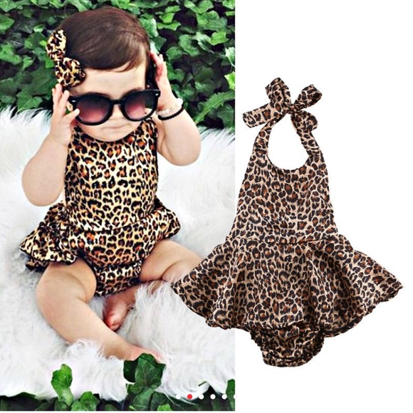 59aa6d1981 Boutique Baby Girl Animal Print Romper Dress