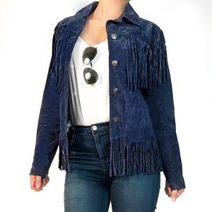 North style leather fringe jacket in blue