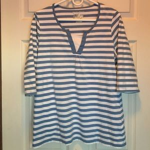 Just My Size Tops - JUST MY SIZE PULLOVER BLUE/WHITE STRIPE COTTON TOP