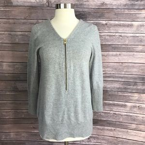 J. Crew Sweaters - J Crew Sweater Size Med Cashmere Gray Zip Henley