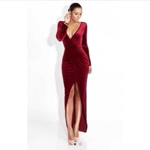 49d005273f Burgundy Velvet Long Sleeve Maxi Dress
