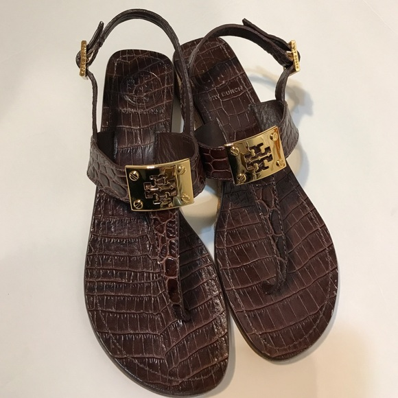 a6e1e3d1bafd Tory Burch Crocodile Print Wedge Sandals. M 5893e5ccc28456f5b5016bea