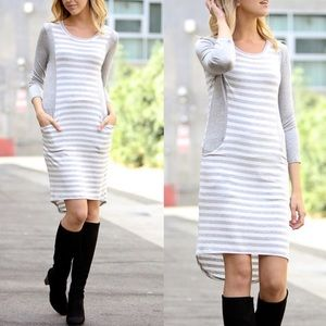 OLGA 3/4 sleeve Dress w/ pockets - H. GREY
