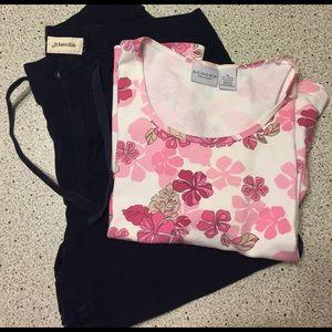 St. John's Bay Pants - Women's St Johns Bay shorts (16)  & floral top XL