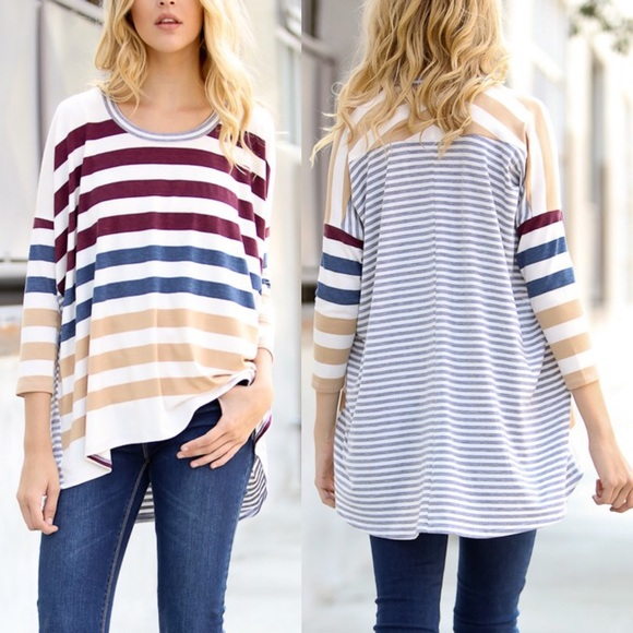 Bellanblue Tops - 🆕CHARLIZE 3/4 sleeve striped top - WINE