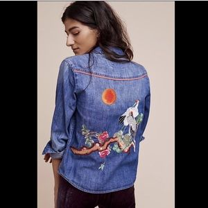 Anthropologie Holding Horses denim  Embroidered XS