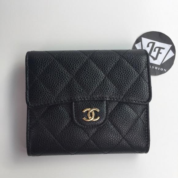 5a90f831fb30 Chanel Classic Square Trifold Wallet Black Caviar