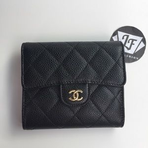 Chanel Classic Square Trifold Wallet Black Caviar