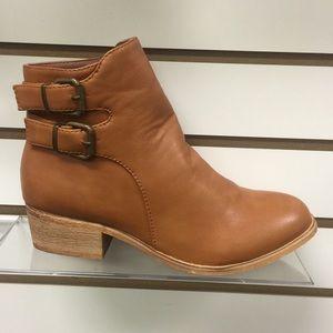 Shoes - Coachella Double Buckle Leather Like Tan Bootie