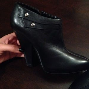 7 for mankind black leather booties. Size 7.
