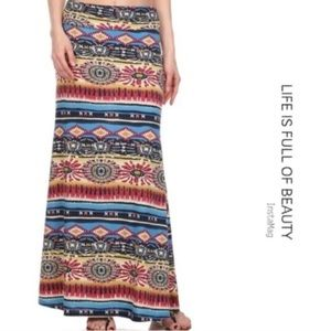 Printed Fold over waist Long skirt