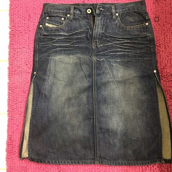 f51ccc6a7 Diesel Skirts | Split Sides Blue Denim Skirt | Poshmark