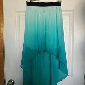 Tiffany blue ombre chiffon high-low skirt