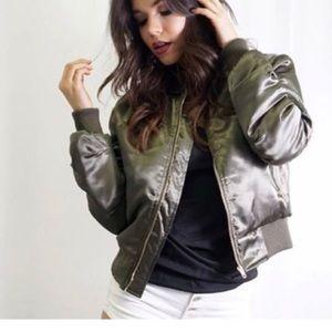 Tea n Cup Jackets & Blazers - Olive Green Bomber Jacket