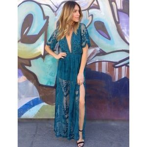 0174a9a7c81f Honey Punch Dresses - Teal Lace Maxi Dress