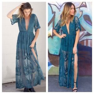 Honey Punch Dresses & Skirts - PREORDER Teal Embroidered Lace Maxi Dress