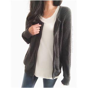 Sonoma Sweaters - Dark Charcoal Grey Zip Up Sweater