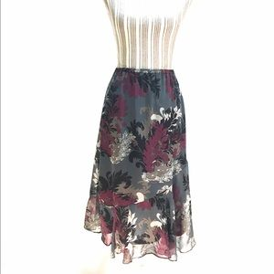 Boho Floral Print Midi Skirt