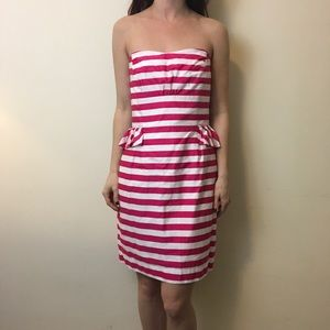 Lilly Pulitzer Pink White Striped Strapless Dress