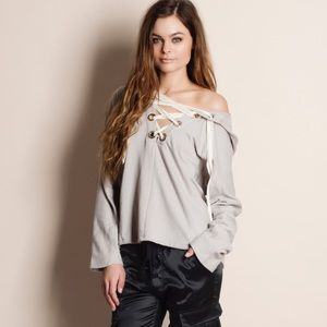 Lace Up Hoodie Sweater Top