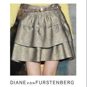 Diane von Furstenberg Dresses & Skirts - Diane Von Furstenberg Metallic Tiered Mini Skirt