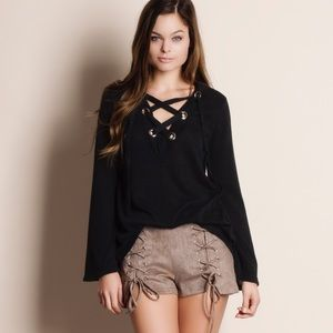 Lace Up Grommet Top