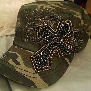 Beaded cross camo adjustable cadet GI hat