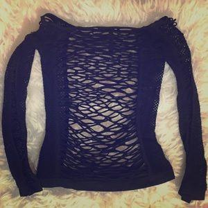 Mesh Net Stripper Dancer Long Sleeve Shirt OS