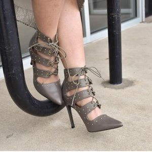 Shoe Dazzle Shoes - Olive Green Heels