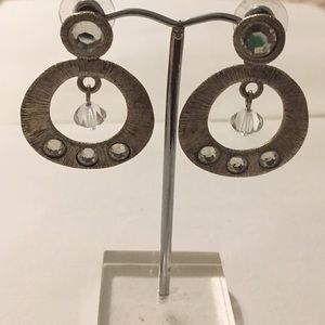 Jewelry - Pewter Color and crystal earrings