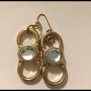 Jewelry - Gold  Modified Figure 8 Earrings Crystal Center