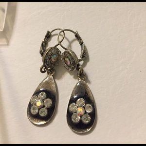 Jewelry - SOLD Vintage Metal Enamel and Rhinestone Earrings