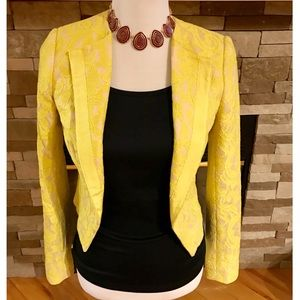 Anthropologie Jackets & Blazers - Anthropologie Yellow Cropped Lace Blazer