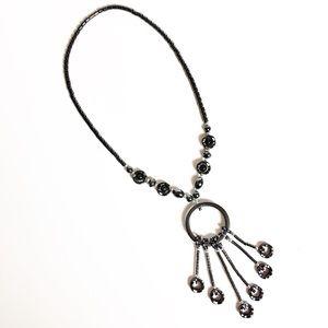 Hematite Necklace with Jade Beads NWOT