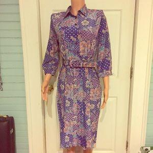 Vintage Dresses & Skirts - Gorgeous Vintage Blue Paisley 3/4 Sleeve Dress