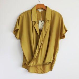 Mustard wrap blouse