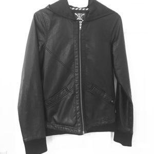 Billabong Jackets & Blazers - Volcom Hooded Vegan Leather Zip Moto Jacket Coat