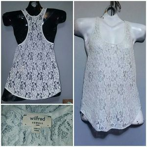 WILFRED Mint Green Lace Racer Back Tank