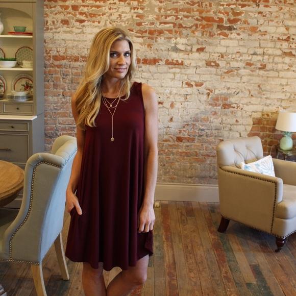 a46550a09961 Dark Burgundy sleeveless swing dress with pockets