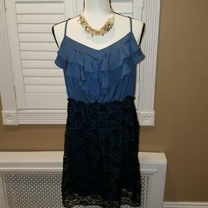 XHILARATION BLACK BLUE LACE SEXY DRESS XL