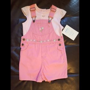 Carter's Pink Overall and Onesie 24 months