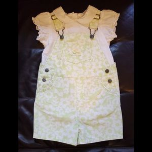Carter's Light Green Floral Overall with Onesie