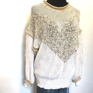 Vintage Sweaters - 80's vintage Shag and gold oversized sweater