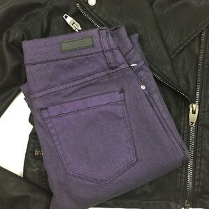 Blank NYC Denim - Blank NYC 25 Super Skinny Coated Jeans Purple NWT