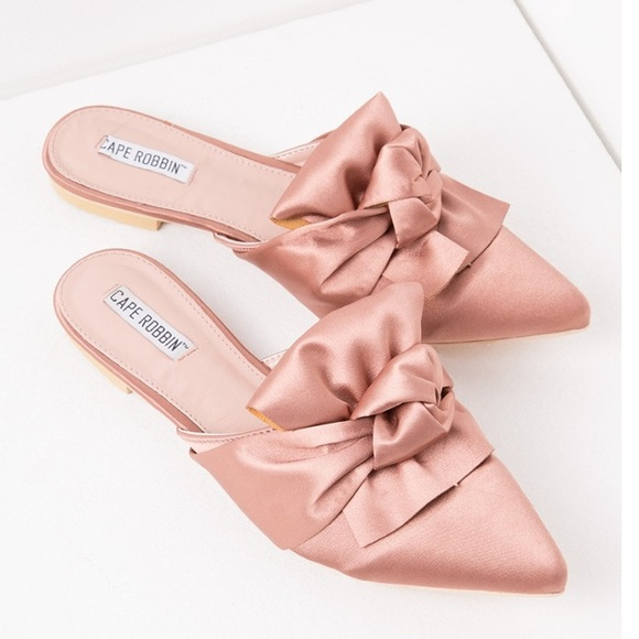 8fdc22b052d1 🆕Fiona Rose Pink Satin Bow Mule Slides Pointy Toe