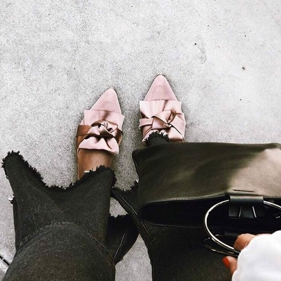 2349010a74 Shoes | Fiona Pink Satin Bow Pointy Toe Mules Slides | Poshmark