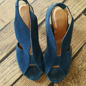 chelsea Crew Shoes - Chelsea Crew Teal Peep Toe Sandals Size 8