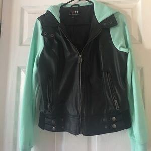 Boy + Girl Jackets & Blazers - Sweater/leather jacket