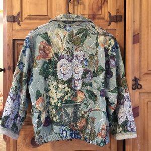 Floral tapestry blazer/bomber