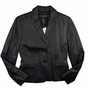 Club Monaco Jackets & Blazers - New CLUB MONACO Black Leather Blazer Jacket
